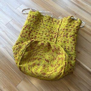 fun yellow up-cycled hamper bag